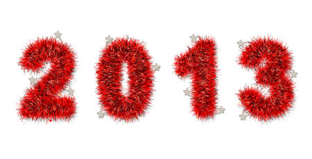 red tinsel forming 2013 year number on white photo