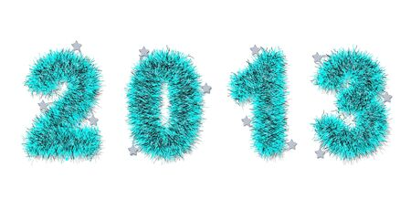 tinsel: blue tinsel forming 2013 year number on white Stock Photo