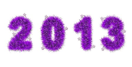 violet tinsel forming 2013 year number on white Stock Photo - 14660683