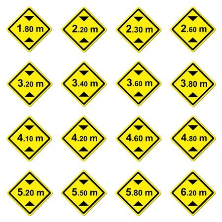 limitation: 16 height limitation traffic sign on white