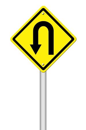 uturn: Yellow warning sign u-turn roadsign on white background