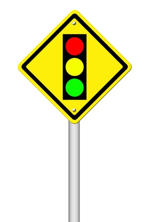 Traffic light ahead warning sign on white background photo