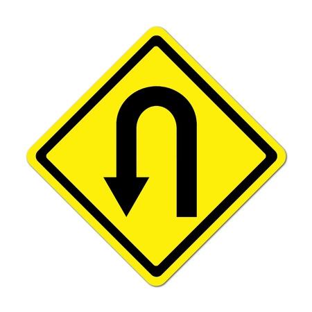 Yellow warning sign u-turn roadsign on white background