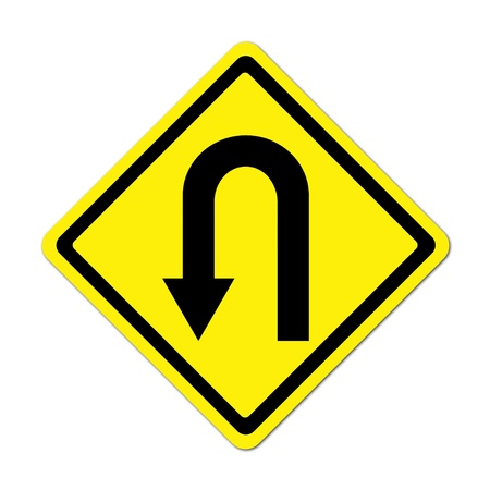 uturn: Yellow warning sign u-turn roadsign on white background