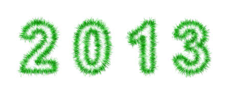 green tinsel forming 2013 year number on white photo