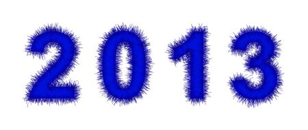 blue tinsel forming 2013 year number on white photo
