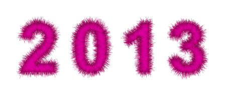 pink tinsel forming 2013 year number on white photo