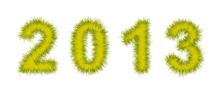 yellow tinsel forming 2013 year number on white photo