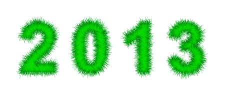 green tinsel forming 2013 year number on white Stock Photo - 14751260