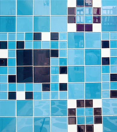square blue tiles abstract pattern background photo
