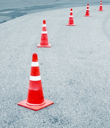 traffic cones on the road photo