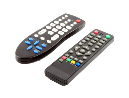two TV remote control on a white background photo