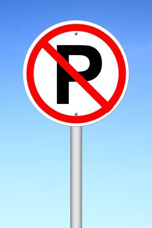 no parking sign: No parking sign over a blue sky