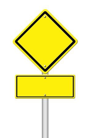 señales de transito: Muestra amarilla en blanco sobre fondo blanco