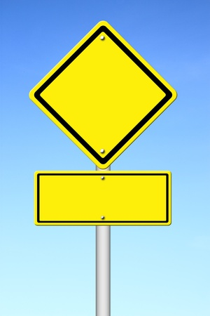 blank yellow traffic sign with blue sky background Stock Photo - 14957293