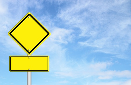 blank yellow traffic sign with blue sky blank for text Stock Photo - 14957298