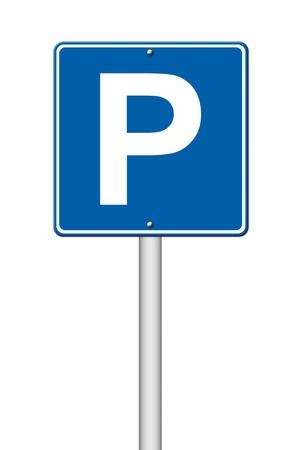 traffic signal: Aparcamiento se�al de tr�fico en el fondo blanco Foto de archivo