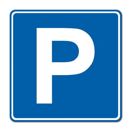 Parking traffic sign on white background photo