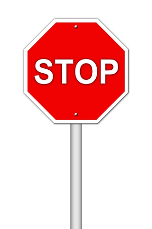 highway sign: stop sign on white background