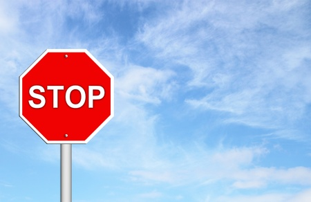 stop sign with blue sky blank for text photo