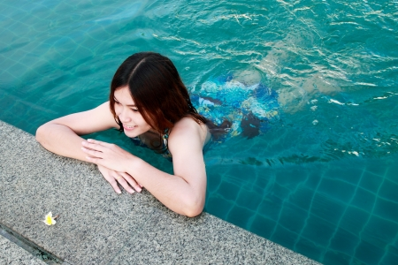 Woman at the Edge of a Swimming Pool photo