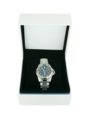 white box with luxury watch on white background photo