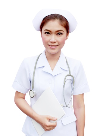 young nurse holding medical report and stethoscope on white background photo