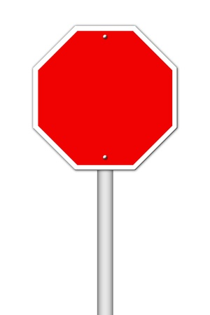 red blank sign on white photo