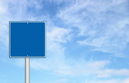 way bill: blue blank sign with blue sky blank for text