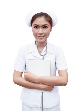 young nurse with medical report on white background photo