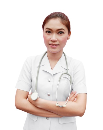 Female nurse standing with stethoscope photo