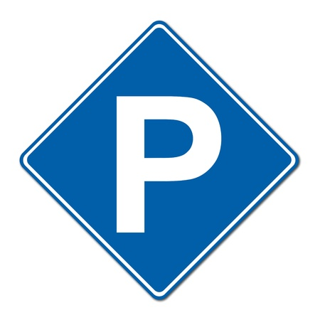space area: Parking traffic sign on white background