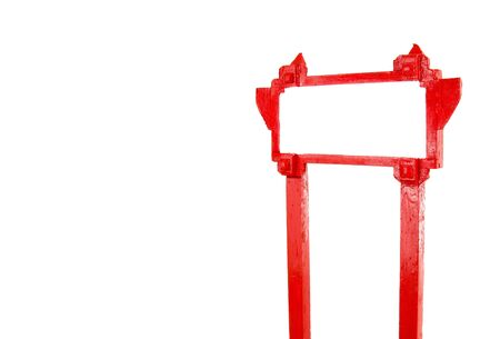 red blank wooden sign on white blank for text photo