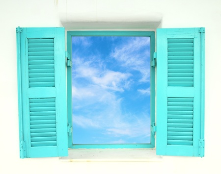 Greek Style windows  with blue sky view photo