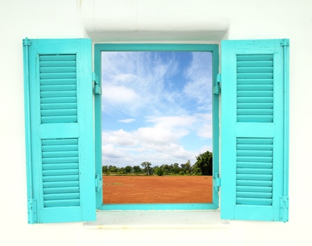Greek Style windows  window with nature country view photo