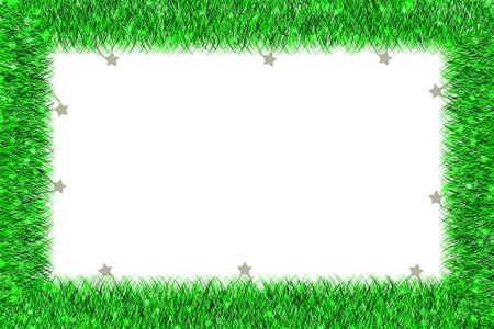Christmas green tinsel frame  on white background photo