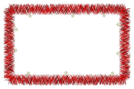 Christmas red tinsel frame on white background