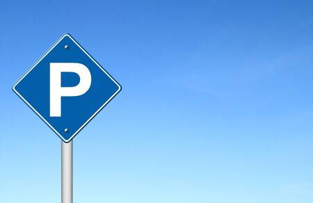 blue metallic background: Parking traffic sign with blue sky blank for text