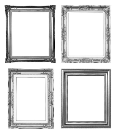 4 silver frame on white background photo
