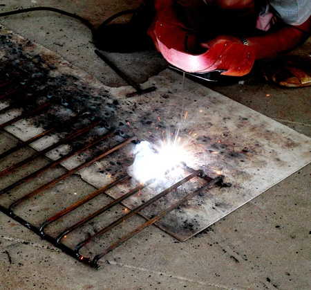 electric welding connecting square bar metal photo