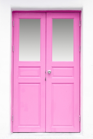 pink Greek Style door on wall Stock Photo - 15396779