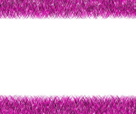 Christmas pink tinsel frame  on white background photo
