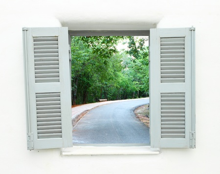 Greek Style windows  with curve road view photo