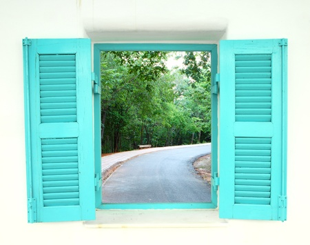 window view: Greek Style windows  with curve road view
