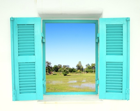 Greek Style windows  with country filed view Stock Photo - 15445548