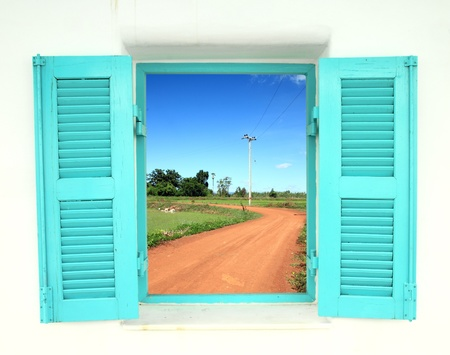 Greek Style windows  with soil curve road view photo
