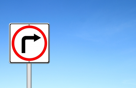 Traffic sign show the turn right over blue sky blank for text photo