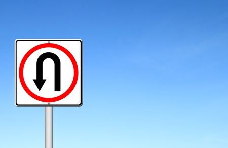 Turn back road sign over blue sky blank for text Stock Photo - 15467836