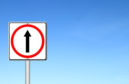 way to go: go ahead the way ,forward sign with blue sky blank for text Stock Photo
