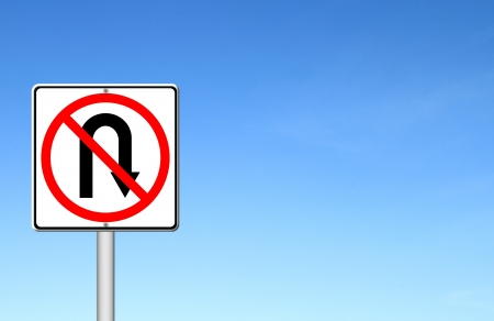 no u turn sign: No return back road sign over blue sky blank for text